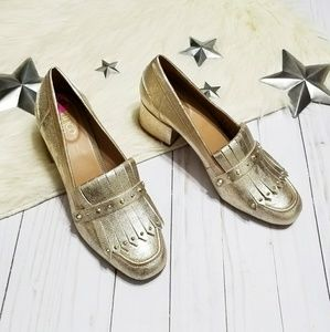 Franco Sarto Lauryn gold loafers block heel studs